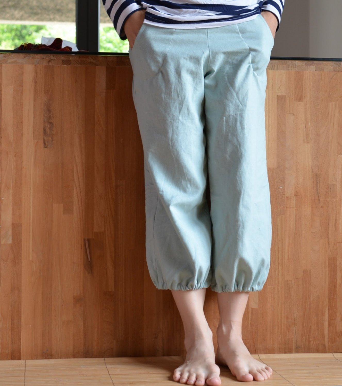 Pantalones Junho en lino verde