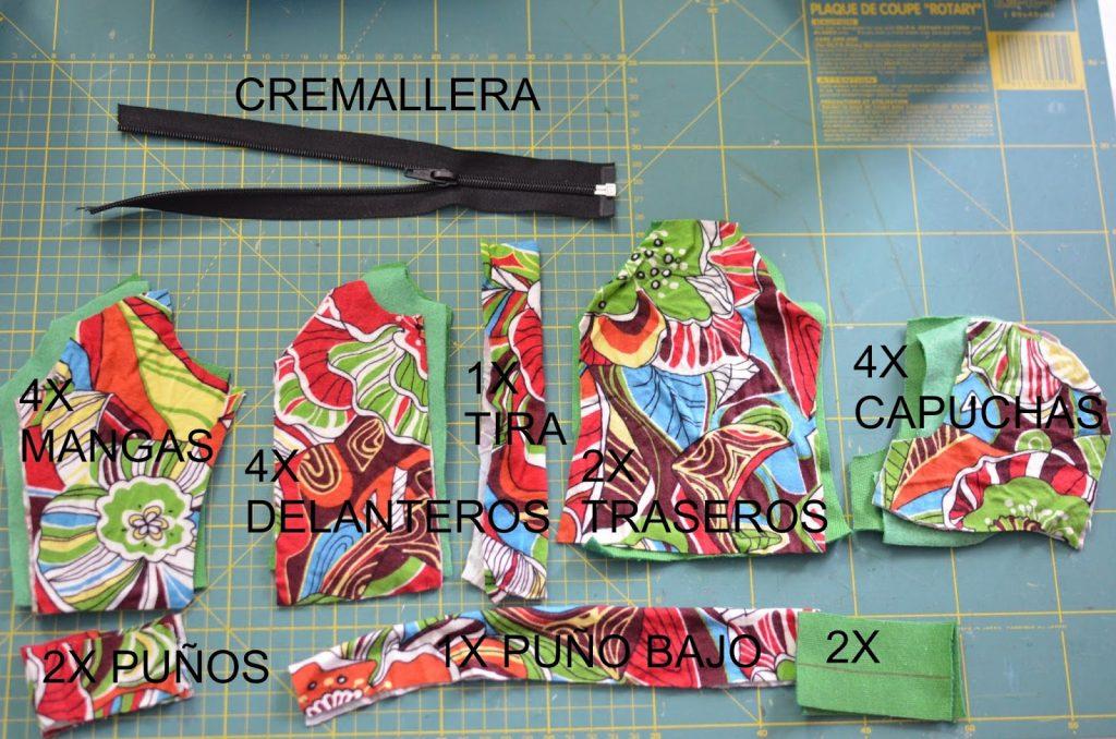piezas para coser sudadera