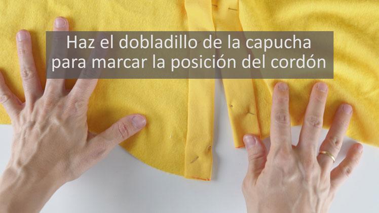coser capucha con cordón