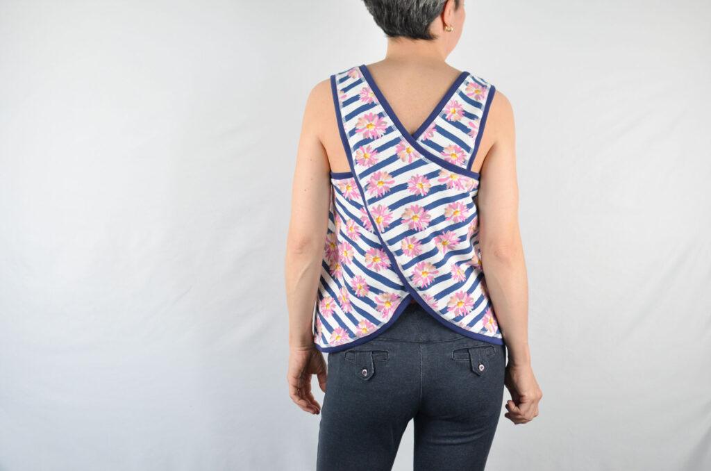 patrón blusa espalda cruzada
