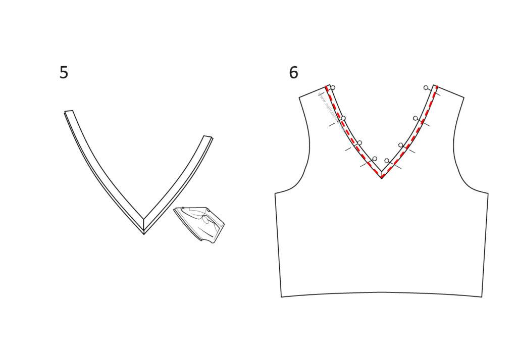 coser bies en escote V